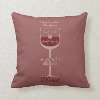 Almohada de tiro de encargo de la copa de vino roj