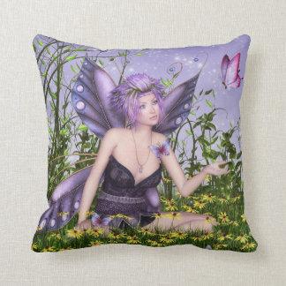 Almohada de tiro de hadas de la primavera púrpura