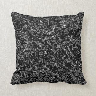 Almohada de tiro de la textura del negro del brill