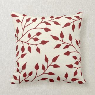 Almohada de tiro de las hojas/Borgoña elegantes