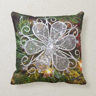 Almohada de tiro de plata de la flor cojín decorativo
