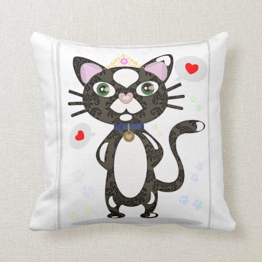 Almohada de tiro de princesa Tuxedo Cat
