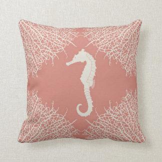 Almohada de tiro decorativa con el seahorse y el c