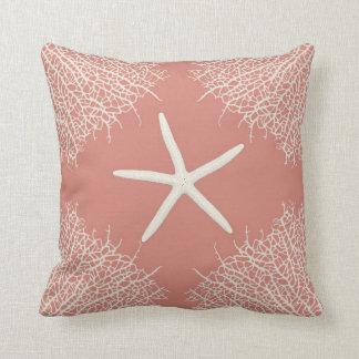 Almohada de tiro decorativa con seastar y coralino