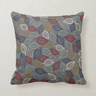Almohada de tiro decorativa de la hoja gris y azul