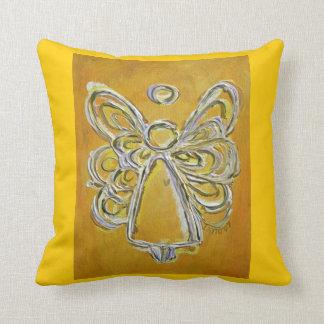 Almohada de tiro decorativa del ángel amarillo y