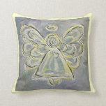 Almohada de tiro decorativa del ángel blanco y de