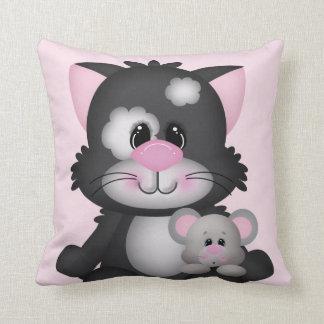Almohada de tiro decorativa del gato y del ratón