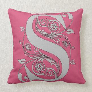 Almohada de tiro del algodón del monograma S Cojín Decorativo