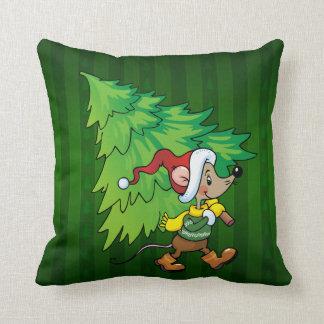 Almohada de tiro del árbol de navidad del ratón cojín decorativo