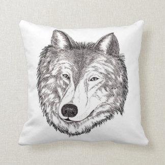 Almohada de tiro del black&white del lobo gris