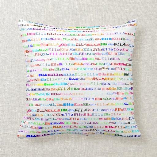 Almohada de tiro del diseño II del texto de Ella