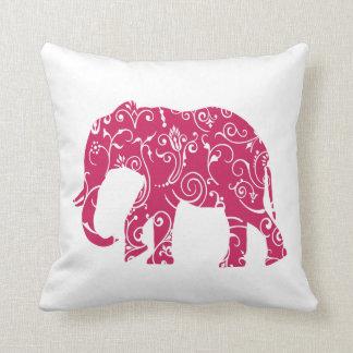 Almohada de tiro del elefante rosado y blanco