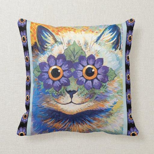 Almohada de tiro del gato de la flor de Louis Wain