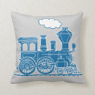Almohada de tiro del gris azul del loco del tren cojín decorativo