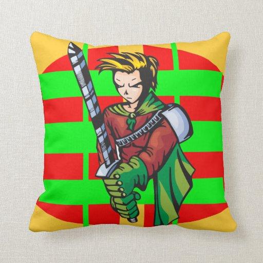 Almohada de tiro del guerrero del dibujo animado