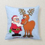 Almohada de tiro del navidad de Santa y de Rudolph