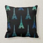 Almohada de tiro del negro azul de la torre Eiffel
