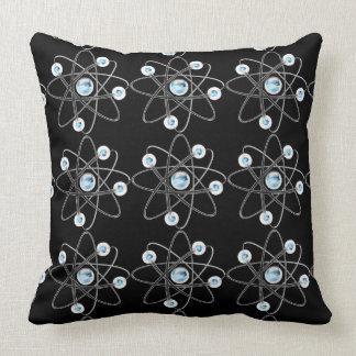Almohada de tiro del negro del símbolo del átomo
