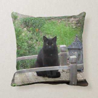 Almohada de tiro del puente del gato negro cojín decorativo