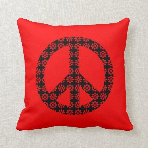 Almohada de tiro del signo de la paz de la flor