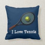 """Almohada de tiro del tenis del azul """"amo"""" con la"""