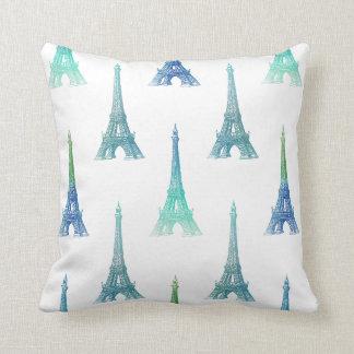Almohada de tiro del verde azul de la torre Eiffel