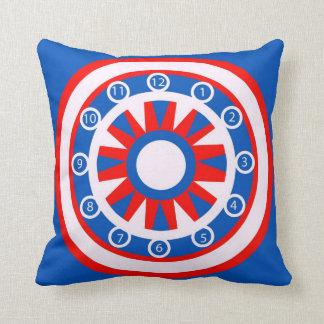Almohada de tiro en diseño rojo, blanco y azul del