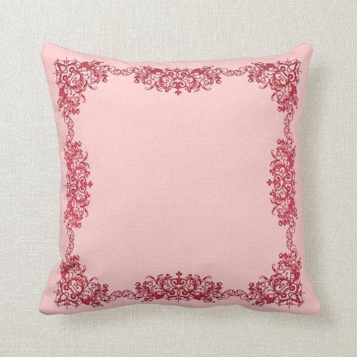 Almohada de tiro enmarcada rosa