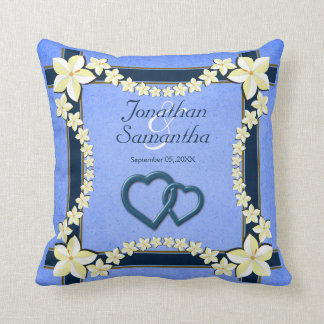 Almohada de tiro floral azul rústica del cuadrado