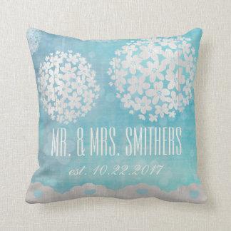 Almohada de tiro floral de encargo del día de boda