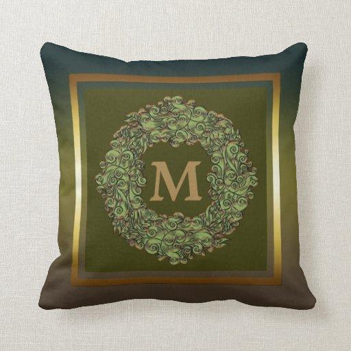 Almohada de tiro floral del monograma de la guirna