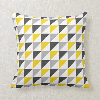 Almohada de tiro geométrica amarilla y gris