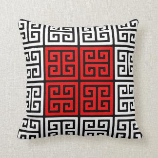 Almohada de tiro griega blanca y negra roja del mo