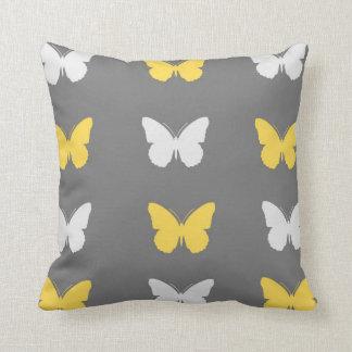 Almohada de tiro gris, amarilla, y blanca de la ma