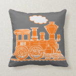 Almohada de tiro gris anaranjada del tren conocido
