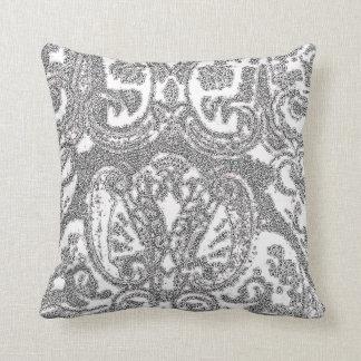 Almohada de tiro gris blanca de Paisley/Coussin