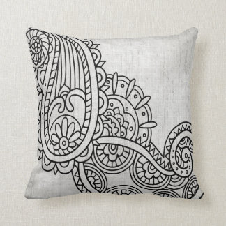 Almohada de tiro gris del adorno de Mehndi