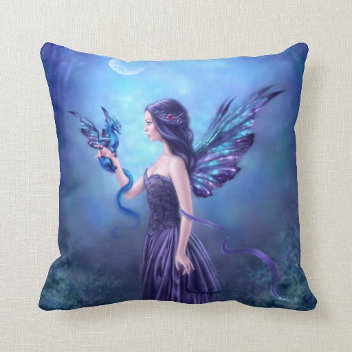 Almohada de tiro iridiscente azul y púrpura del dr