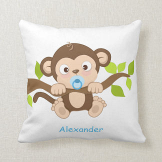 Almohada de tiro linda del mono del bebé cojín decorativo