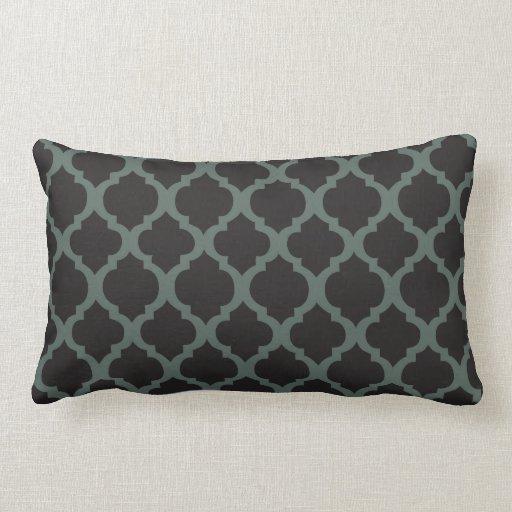 Almohada de tiro lumbar negra y gris