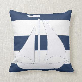 Almohada de tiro náutica de la raya azul del veler