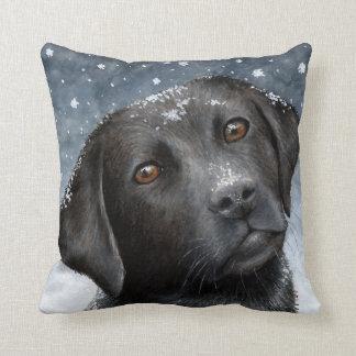 Almohada de tiro negra de Labrador del perro 100