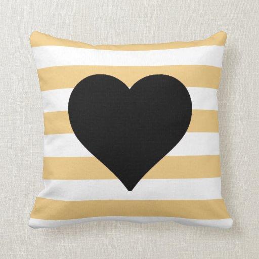 Almohada de tiro negra rayada amarilla y blanca de