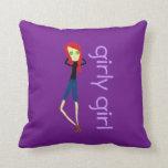 Almohada de tiro púrpura del chica femenino del Re