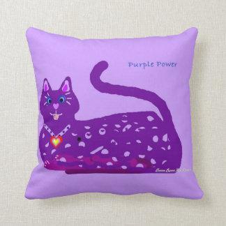 Almohada de tiro púrpura del poder del gatito del