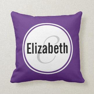 Almohada de tiro púrpura del recuerdo del nombre d