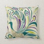 Almohada de tiro púrpura del remolino del pavo rea