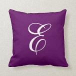 Almohada de tiro púrpura y blanca elegante del mon