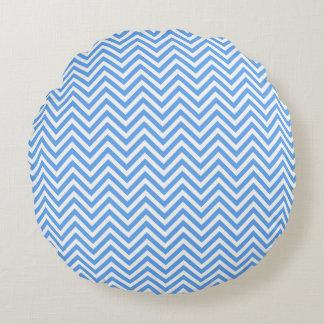 Almohada de tiro redonda de Chevron del azul de Cojín Redondo